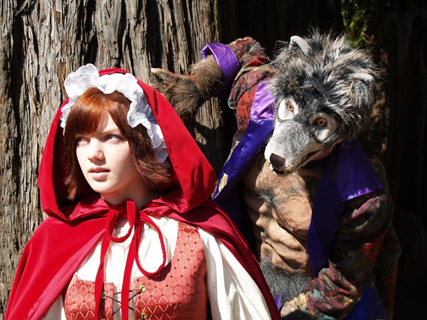 Katy Curtis as Little Red Riding Hood, Luke Sikora as The Wolf in the NCRT production of Sondheim's Into the Woods - COURTESY OF NCRT