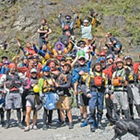 Salmon River Race Kayakers gathered just before the start of the race. Photo by Darin McQuoid, www.kayakphoto.com.