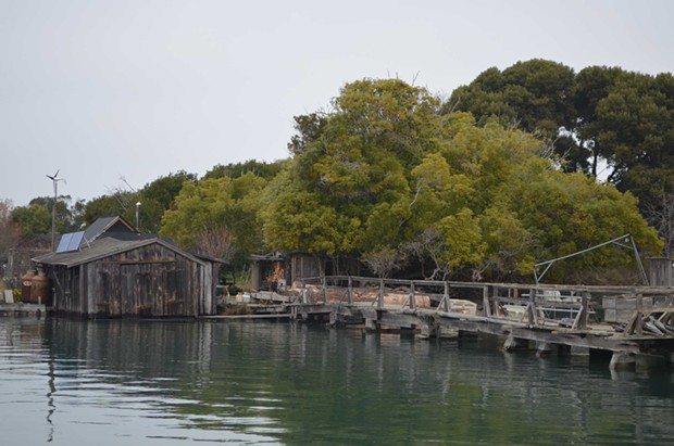 High waters soak the bottom of a boathouse on Indian Island. - GRANT SCOTT-GOFORTH
