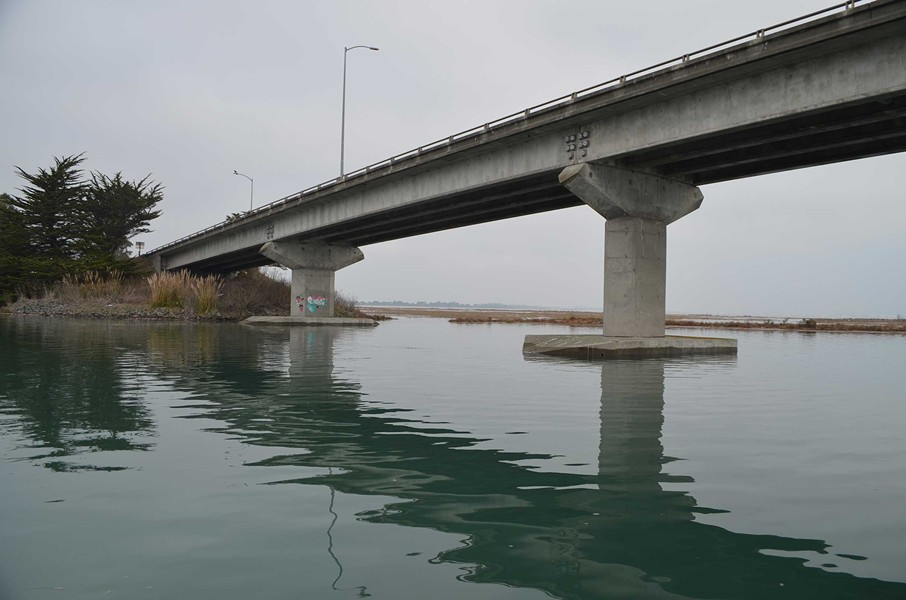 Under State Route 255. Note the high water line on the foot of the column. Herbelin said that was likely from the morning's then-receding high tide, though could have been left by a boat wake. - GRANT SCOTT-GOFORTH