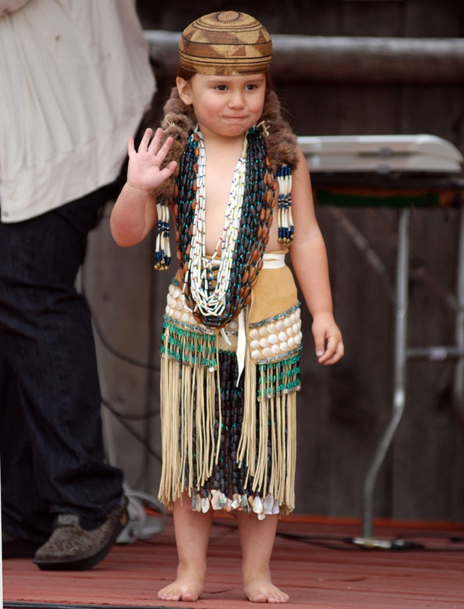 Koy-poh McQuillen participates in a cultural demonstration during the Yurok Tribe's 2012 Salmon Festival.