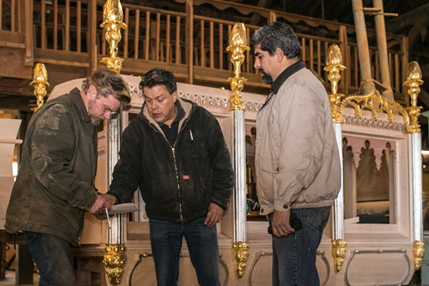 L-R: Eric Hollenbeck with Blue Ox master woodworkers Enrique Ayala and 