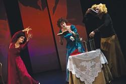 PHOTO COURTESY OF DELL'ARTE INTERNATIONAL. - Laura Muñoz, Ruxandra Cantir and Joan Schirle.