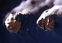 Île de la Possession and Île de l'Est, Crozet Islands, Indian Ocean. Go 500 miles northeast, drill down 8,000 miles and you'll be in Humboldt County. (NASA photo)