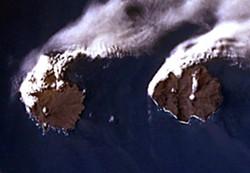 Île de la Possession and Île de l'Est, Crozet Islands, Indian Ocean. Go 500 miles northeast, drill down 8,000 miles and you'll be in Humboldt County. (NASA photo)