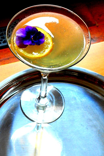 Lemon Drop with pansy garnish - PHOTO BY AMY STEWART