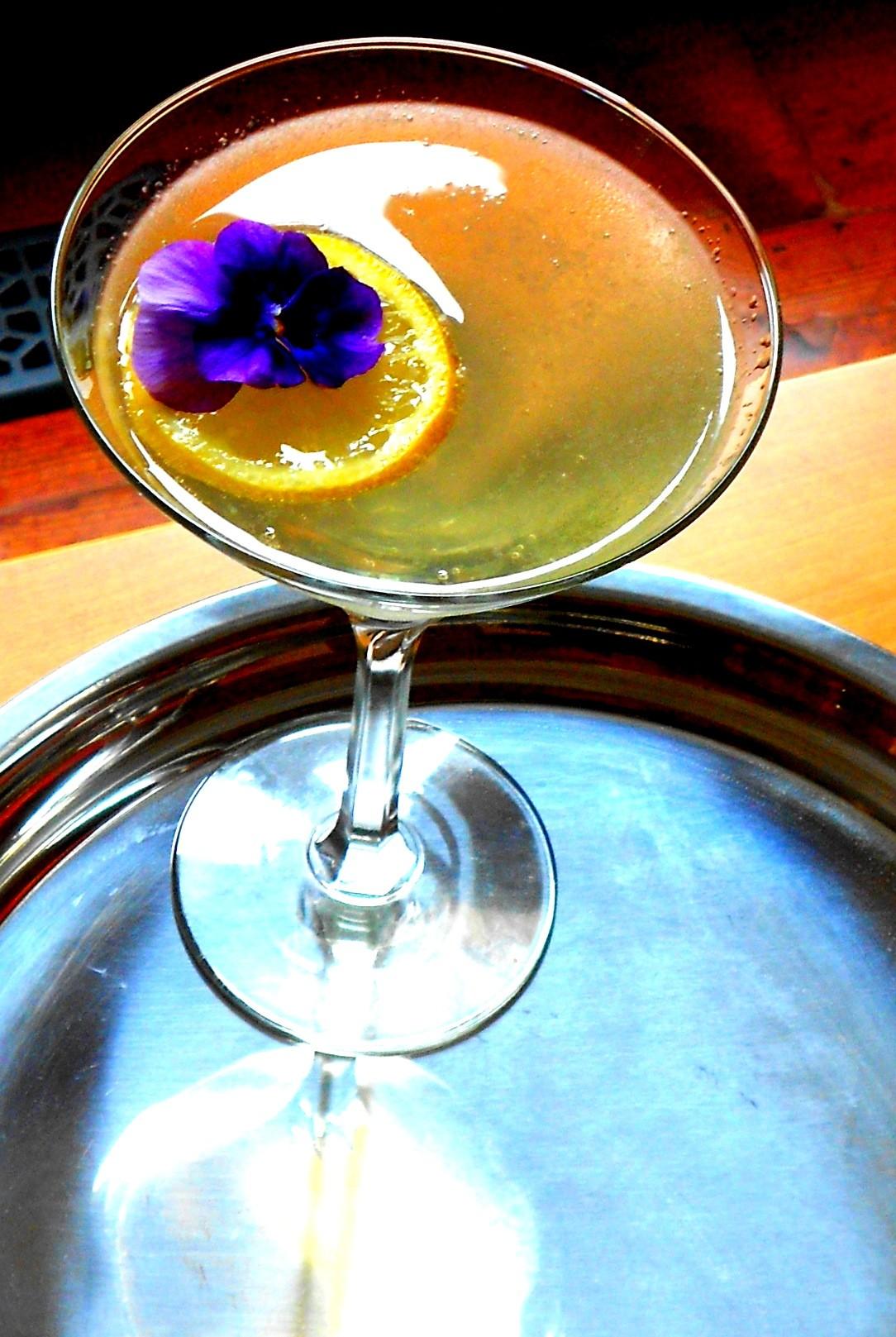 Lemon Drop with pansy garnish - PHOTO BY AMY STEWART