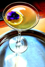 Lemon Drop with pansy garnish