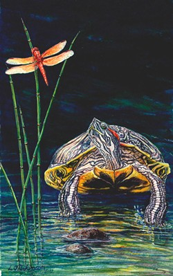 "Linda Parkinson's ""Red Eared Turtle"" rears its head at Blake's Books."