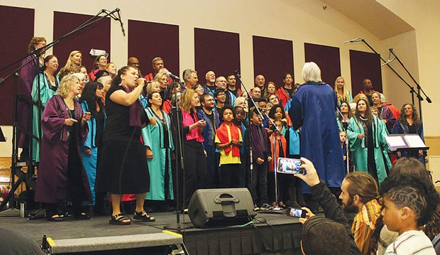 Lorenza Faye Simmons takes the lead as the Arcata Interfaith Gospel Choir joins forces with the AIGC Youth Choir at the annual Gospel Choir Prayer Breakfast on May 4 at the Arcata Community Center. - PHOTOS BY BOB DORAN