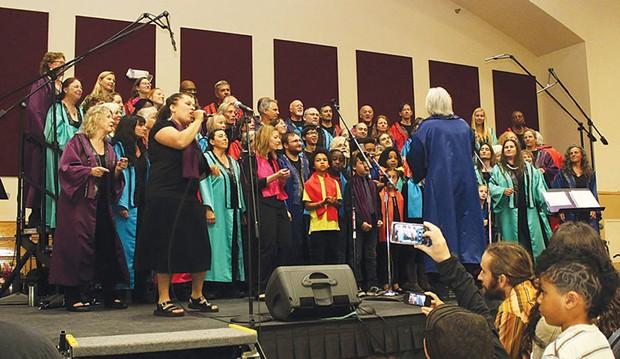 Lorenza Faye Simmons takes the lead as the Arcata Interfaith Gospel Choir joins forces with the AIGC Youth Choir at the annual Gospel Choir Prayer Breakfaston May 4 at the Arcata Community Center. - PHOTOS BY BOB DORAN
