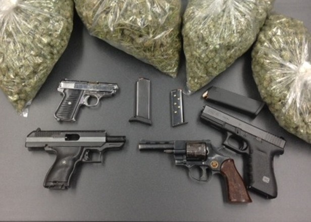 Group Of Money Weed And Guns