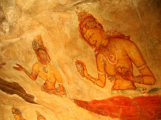 "Low WHR, as presented by two Sigiriya maidens. A sheltered pocket halfway up the 400 foot high western wall of Sigiriya (Lion Hill) in central Sri Lanka acts as a protective ""gallery"" for these fifth century frescoes."