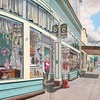 Jack Mays Artwork Main Street, diptych, Creative Touch and Sweetness and Light (Trudy's) Colored pencil drawing by Jack Mays, image courtesy of Carrie Grant