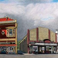 Jack Mays Artwork Main Street Triptych, center panel Colored pencil drawing by Jack Mays, image courtesy of Carrie Grant
