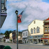 Jack Mays Artwork Main Street Triptych, left panel Colored pencil drawing by Jack Mays, image courtesy of Carrie Grant