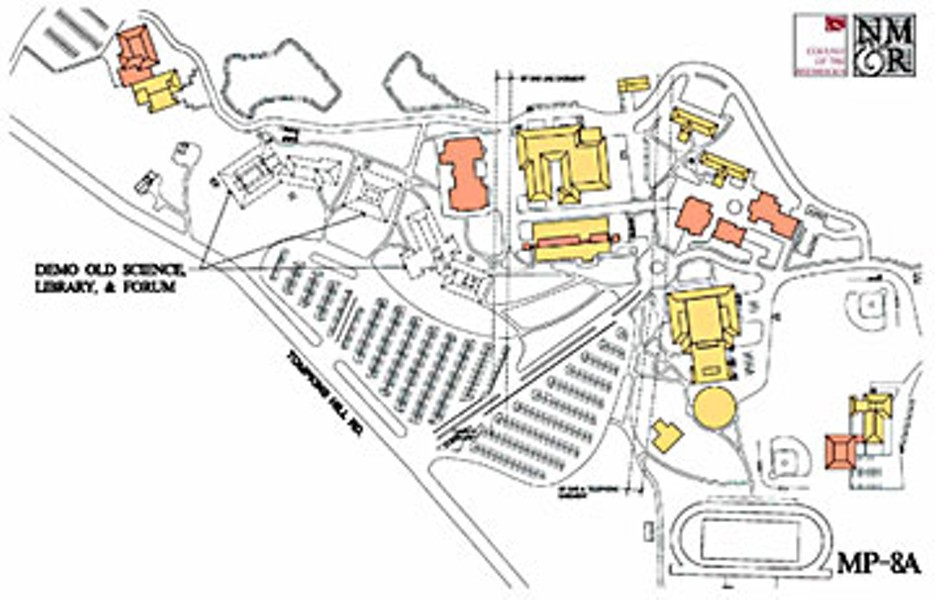Map of College of the Redwoods campus showing buildings to be demolished.