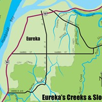 Fish In The City Map of Eureka's Creeks & Sloughs. North Coast Journal graphic.