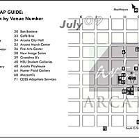 Arts! Arcata Map of July 2009's Arts! Arcata locations.