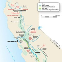 Map of the Central Valley Project service areas.