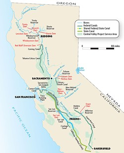 MAP COURTESY OF THE BUREAU OF RECLAMATION - Map of the Central Valley Project service areas.