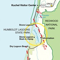 By the Breach Map of the lagoons in Humboldt Lagoons State Park. The dashed lines show, roughly, the locations of fold-and-thrust faults that created the basins where the lagoons have formed. Photo by Heidi Walters