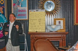 PHOTO BY ANDREW GOFF - Matthew Owen, husband of Virginia Bass, rallies supporters at Avalon