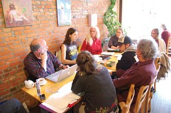 PHOTO BY RYAN BURNS - Members of post-Occupy activist group Humboldt Village gather at Ramone's in Old Town Eureka.