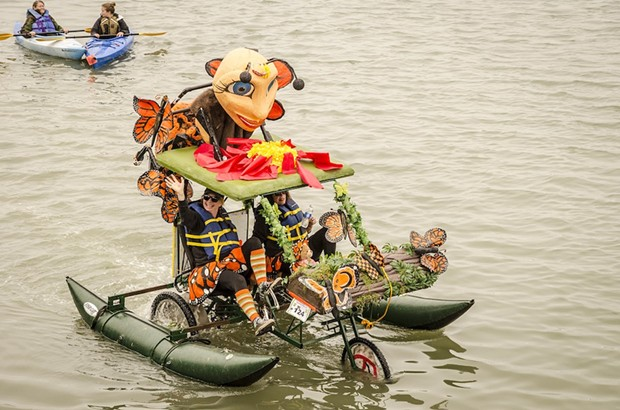 Meri the Monarch shed its wings for pontoons the water portion of the race. - MARK LARSON