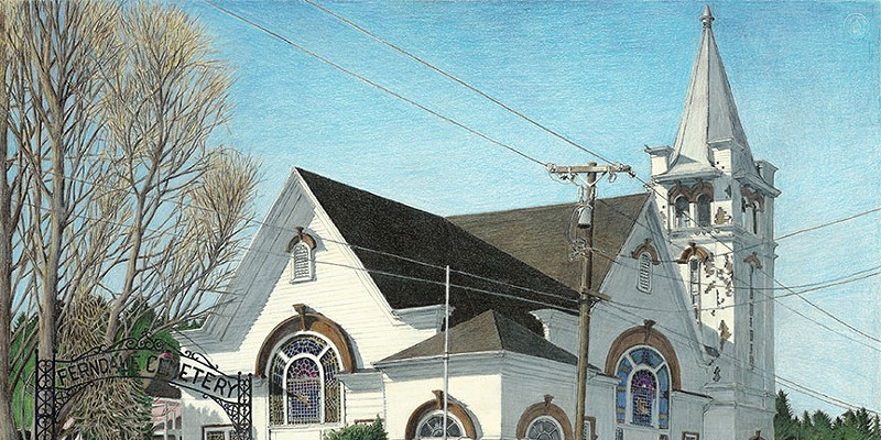 Jack Mays Artwork Methodist Church Colored pencil drawing by Jack Mays, image courtesy of Carrie Grant