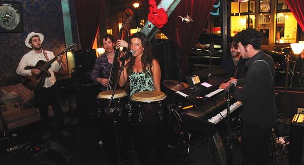 Mia Gianna Casasantasings something jazzy with The Hip Joint duringSaturday'sArts Alive! on April 5 at Siren Song's Tavern. - PHOTOS BY BOB DORAN