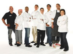 Michael Symon, winner of the Next Iron Chef, and other Iron Chef contestants.