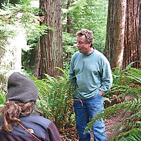 What Now, Treesitter? Mike Jani, president of Humboldt Redwood Co., talking to forest activists at the site of one of their treesits on former Pacific Lumber Co. land. Photo courtesy of David Askaripour
