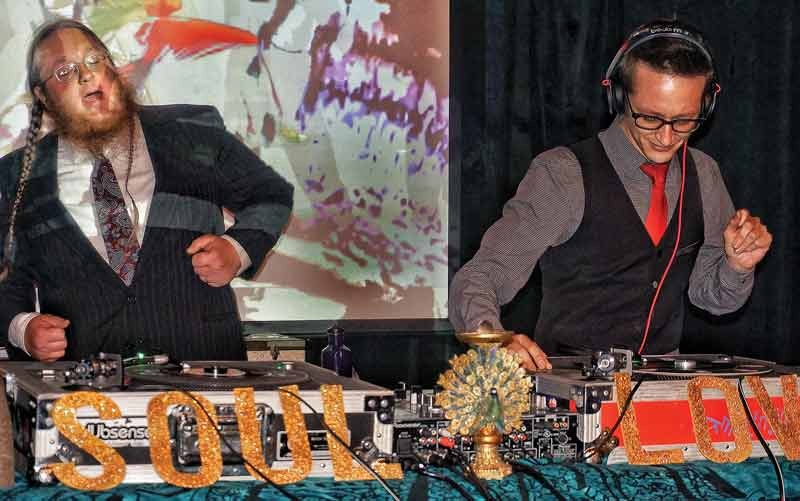 Missing Link Records soul men Adam Pokorski and Matt Jackson, aka Matt 'n' Adam, spin classic soul 45s, keeping the dance floor packed on a sold-out Soul Night at Humboldt Brews on Saturday, Aug. 30. - PHOTO BY BOB DORAN