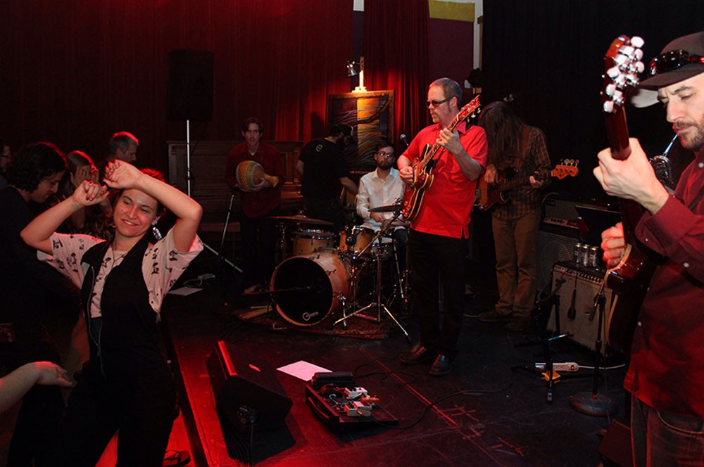 Motherlode celebrated the release of a new album, All in Good Time, with a dance concert at the Arcata Playhouse on Friday night. - PHOTO BY BOB DORAN.