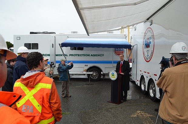 North Coast Congressman Jared Huffman thanked the agencies involved the pulp mill clean up. - GRANT SCOTT-GOFORTH