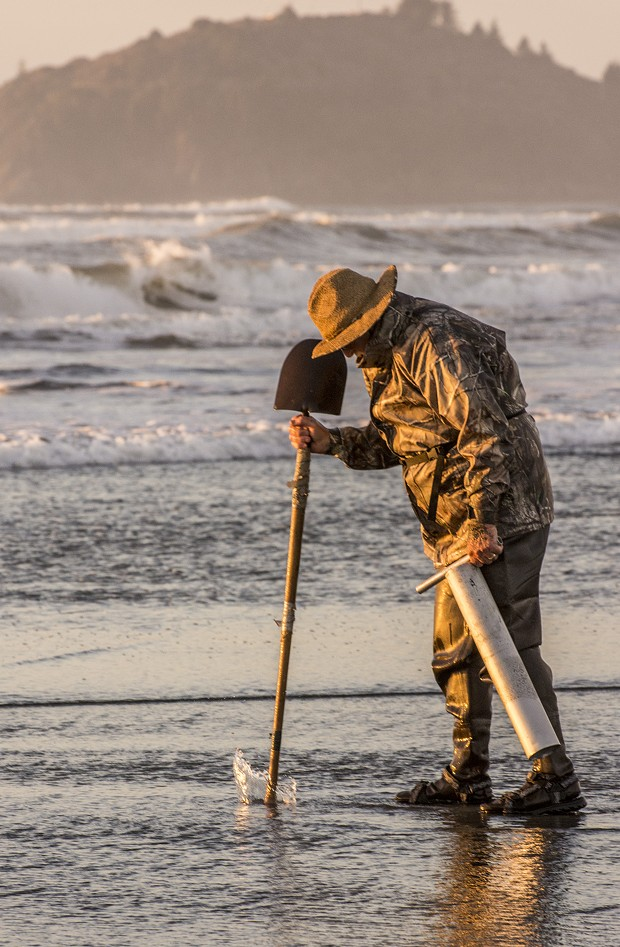 Louie Sousa, of Eureka, of Eureka, joined 40 or 50 others in pursuit of razor clams on Clam Beach on a low tide just before sunset on Tuesday, Jan. 20. - MARK LARSON