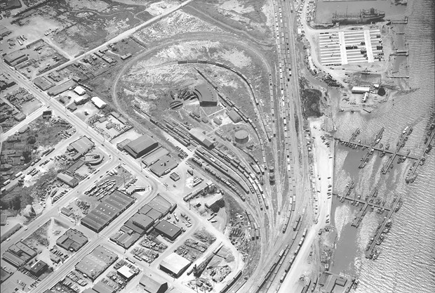 Eureka's Balloon Track, as seen from the sky in 1952. - MERLE SHUSTER, COURTESY OF HUMBOLDT STATE UNIVERSITY, SHUSTER AERIAL PHOTOGRAPH COLLECTION
