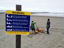 Signs at local beaches warn of strong currents.