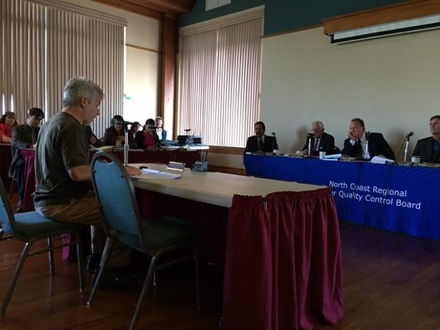Mark Lovelace addresses the North Coast Regional Water Quality Control Board. - GRANT SCOTT-GOFORTH