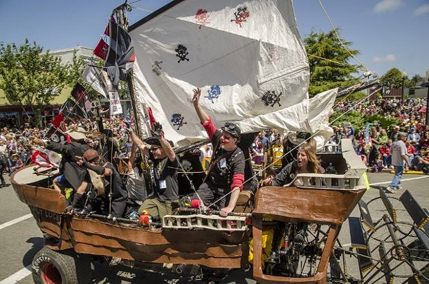 """""""HMS Lucky Luck"""" heads out of town at the noon siren during the LeMans-style start on the Arcata Plaza in 2013. - MARK LARSON"""
