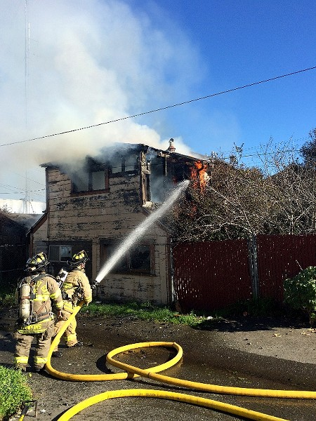 Humboldt Bay Fire crews managed to get the fire under control within about 30 minutes of their arrival. - MARK MCKENNA