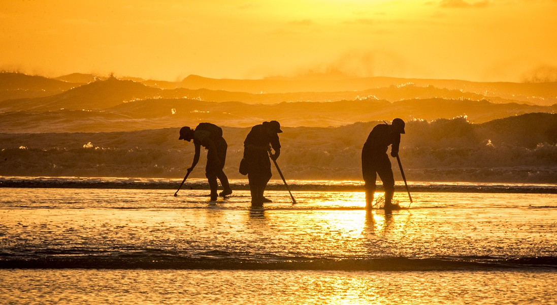Clam Beach featured a very low tide and a beautiful sunset, plus lots of clam diggers looking for the elusive but very tasty razor clam on Tuesday, Jan. 20. Using a long telephoto lens compressed the distance between the surf line and those looking for clams. - MARK LARSON