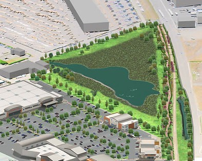 An artistic rendering of the proposed Marina Center development, complete with an 11-acre wetland reserve. - CUE VI