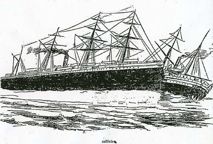 Newspaper illustration of the collision between - RMS Oceanic and SS City of Chester - ILLUSTRATION COURTESY THE SAN FRANCISCO CHRONICLE