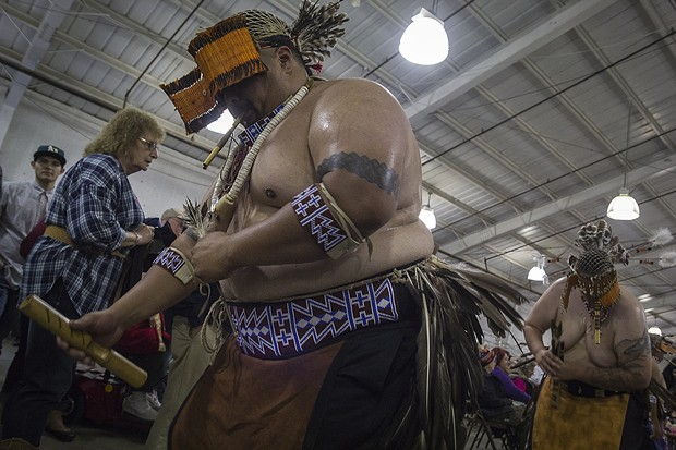 Northern California Brush Dancers dance their way out of the stage area. - MANUEL J. ORBEGOZO