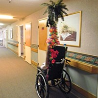 Nurses and aides have decorated the poles attached to some wheelchairs at Seaview Rehabilitation & Wellness Center. The poles are utilitarian – they cannot get past shower rods put over the doors of people who don't want confused neighbors wandering into