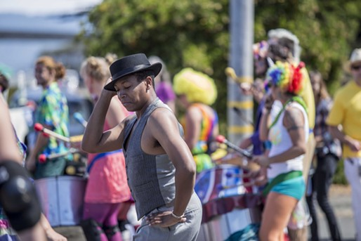 It was a busy Saturday on Eureka's Waterfront. The Pride festival razzled, while Paddlefest dazzled. Pride festival attendees dance to a drum squad at the Humboldt Pride Revolution Parade and Festival in Eureka, Sat. Sept. 13.