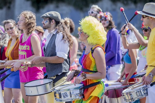 Drummers entertain the crowds outside the Humboldt Pride Revolution Parade and Festival in Eureka, Sat. Sept. 13.