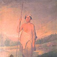 Origin Stories Painting of Wiyot elder Ki-we-lah-tah. Courtesy of the Clarke Historical Museum.